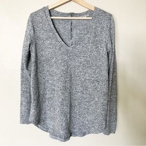 Comfy Long Sleeve Gray Sweater Back Zipper